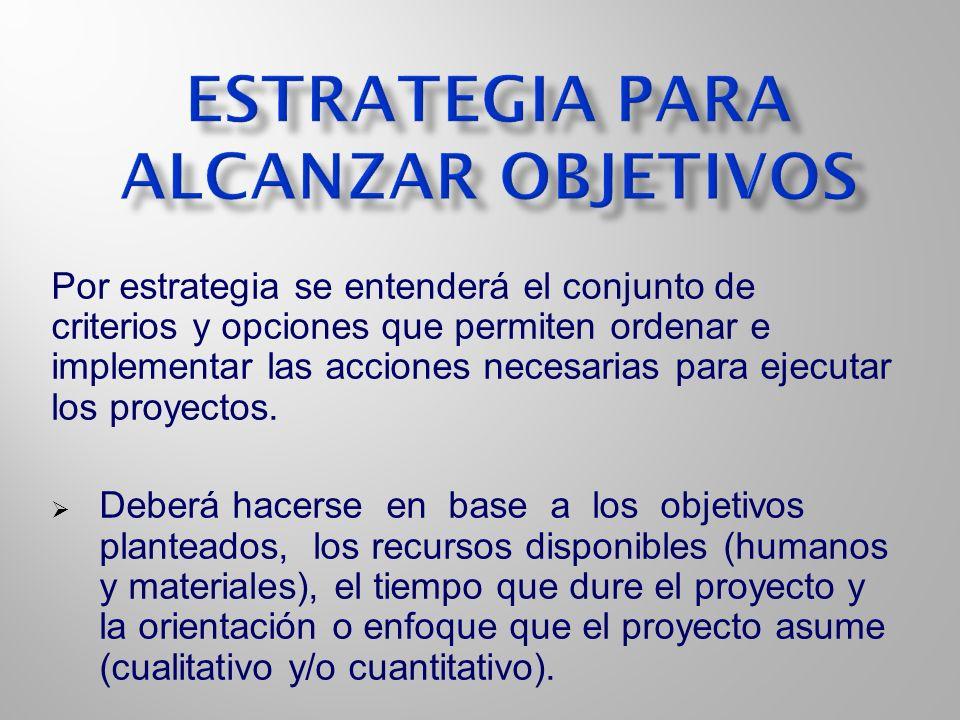 Estrategia para alcanzar objetivos