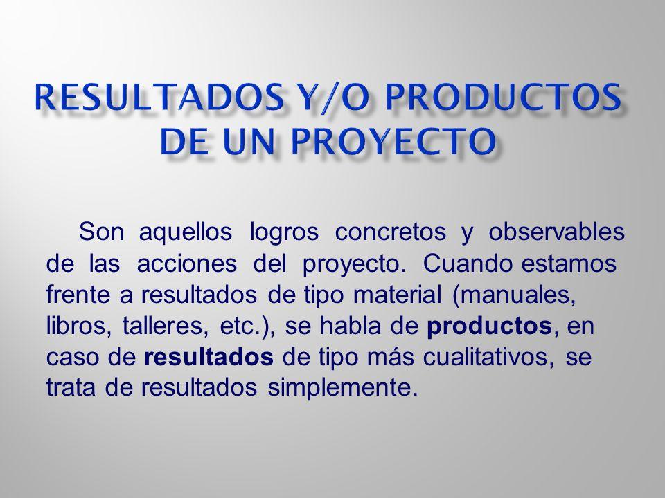 Resultados y/o productos de un proyecto