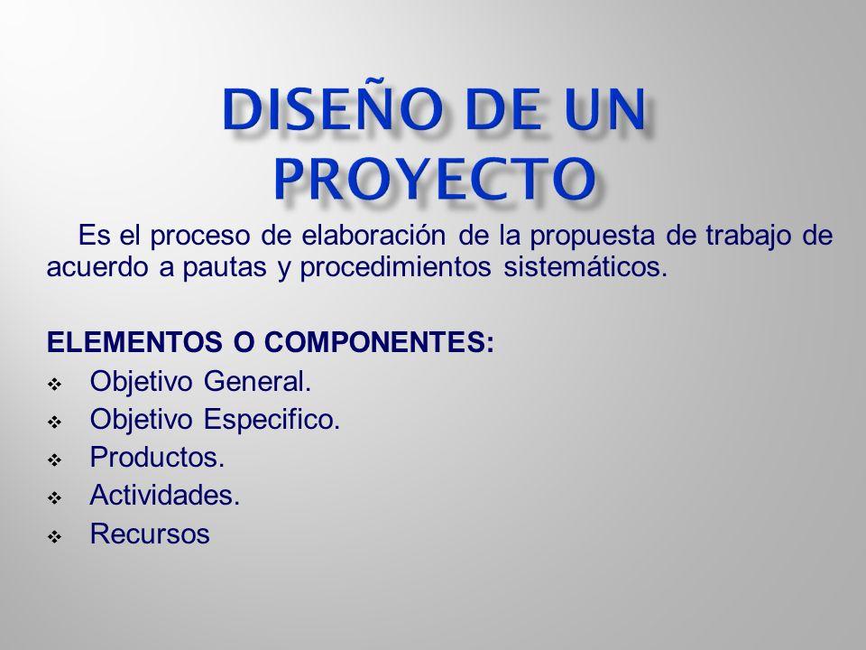 DISEÑO DE UN PROYECTO Es el proceso de elaboración de la propuesta de trabajo de acuerdo a pautas y procedimientos sistemáticos.