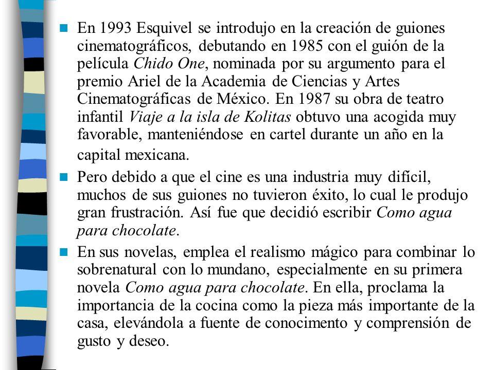 En 1993 Esquivel se introdujo en la creación de guiones cinematográficos, debutando en 1985 con el guión de la película Chido One, nominada por su argumento para el premio Ariel de la Academia de Ciencias y Artes Cinematográficas de México. En 1987 su obra de teatro infantil Viaje a la isla de Kolitas obtuvo una acogida muy favorable, manteniéndose en cartel durante un año en la capital mexicana.