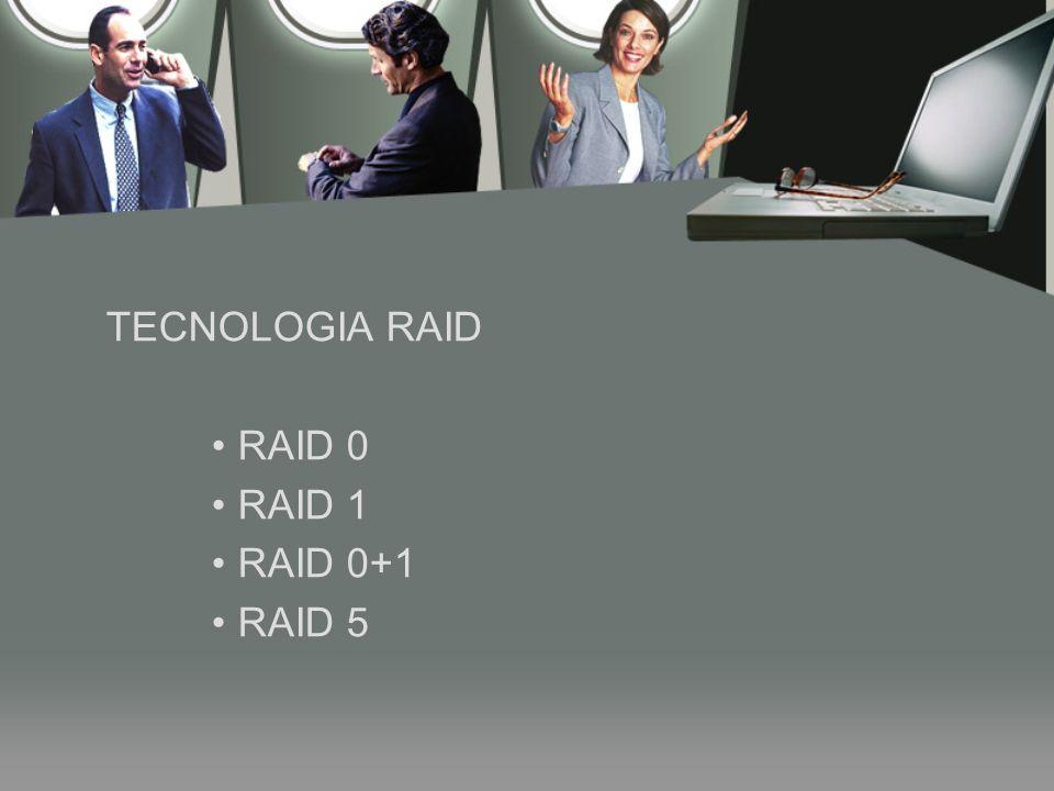 TECNOLOGIA RAID RAID 0 RAID 1 RAID 0+1 RAID 5