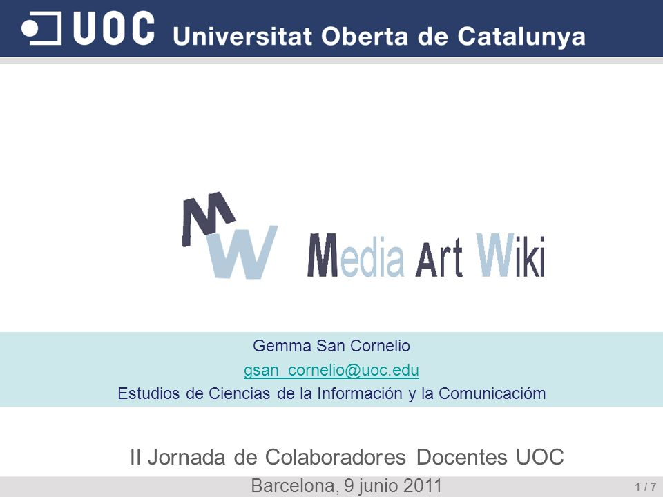 Media Art Wiki II Jornada de Colaboradores Docentes UOC