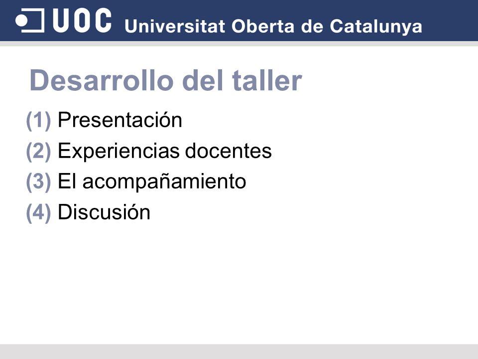 Desarrollo del taller (1) Presentación (2) Experiencias docentes
