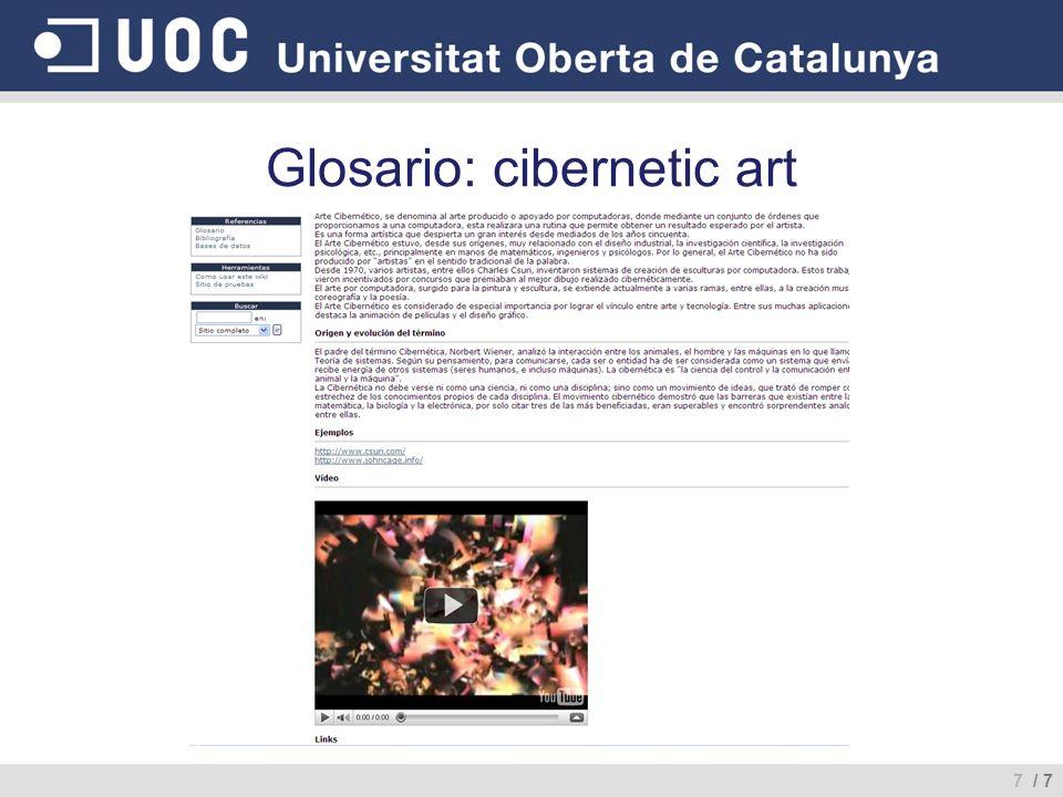 Glosario: cibernetic art