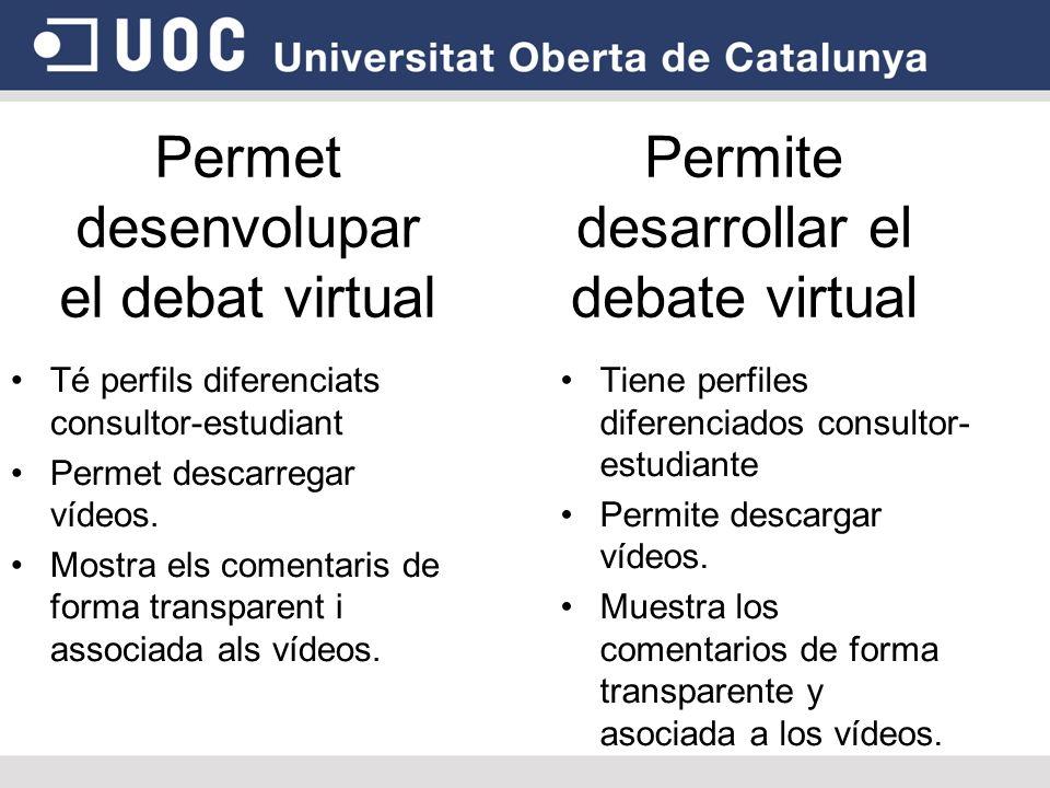Permet desenvolupar el debat virtual