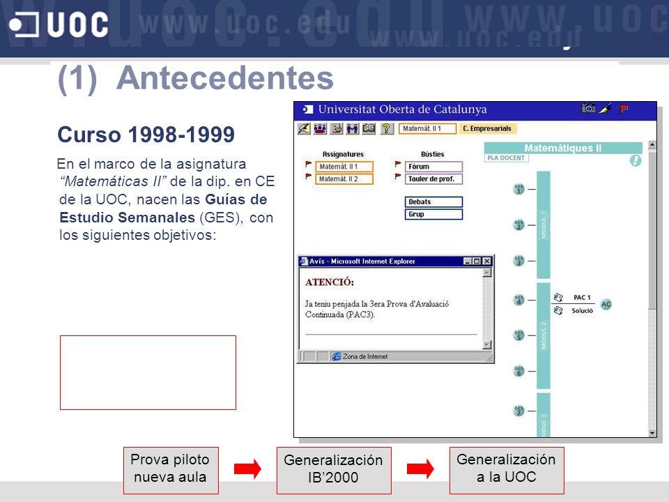 (1) Antecedentes Curso 1998-1999