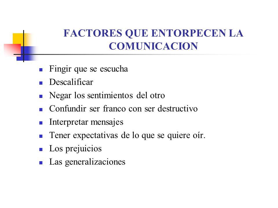 FACTORES QUE ENTORPECEN LA COMUNICACION