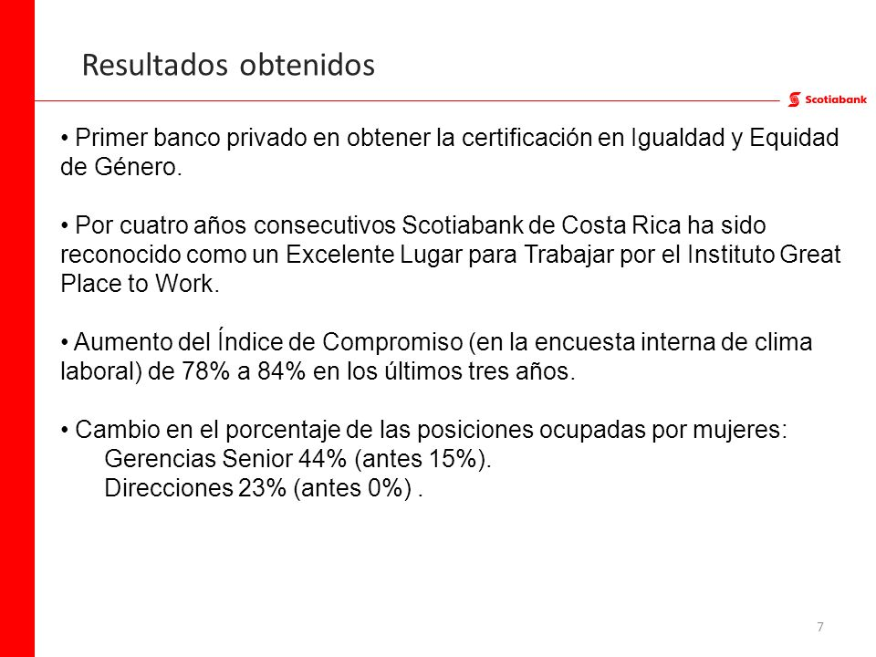 Resultados obtenidosPrimer banco privado en obtener la certificación en Igualdad y Equidad de Género.