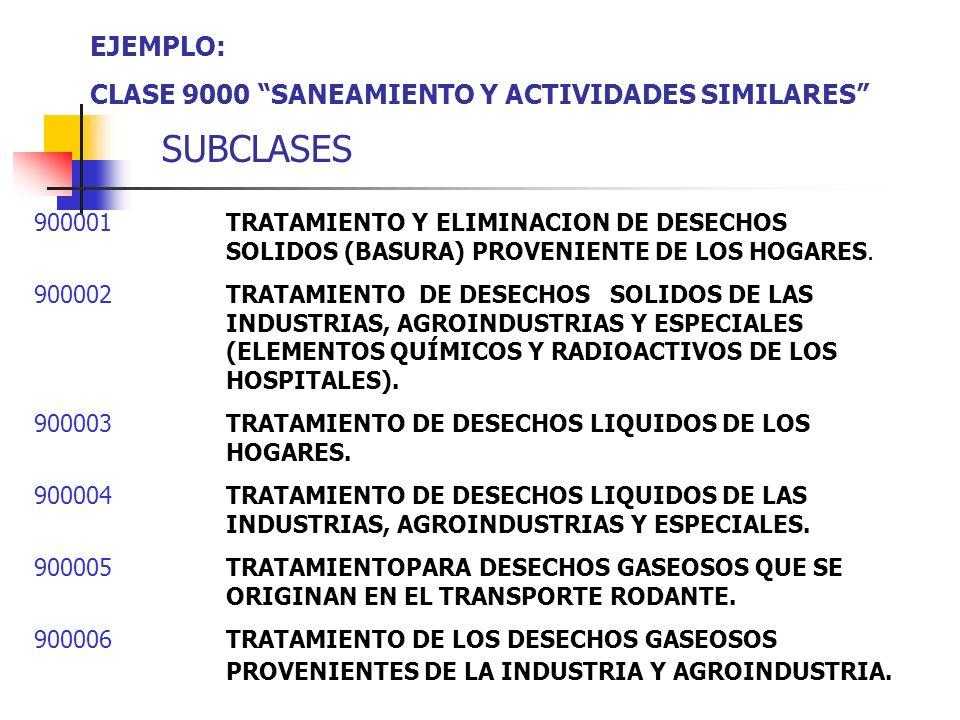 SUBCLASES EJEMPLO: CLASE 9000 SANEAMIENTO Y ACTIVIDADES SIMILARES