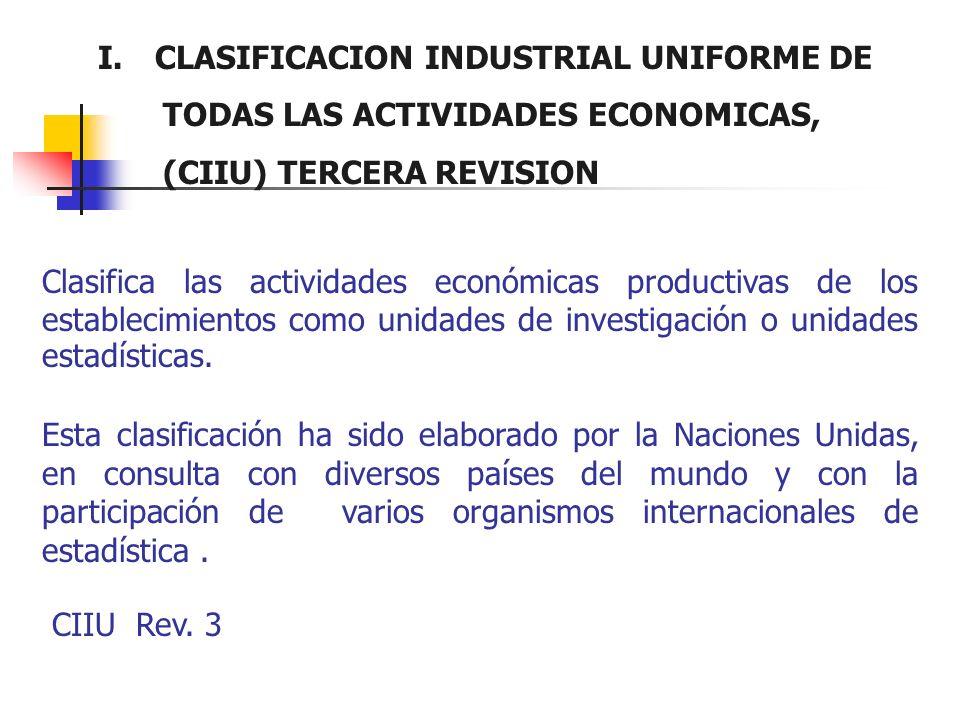 I. CLASIFICACION INDUSTRIAL UNIFORME DE