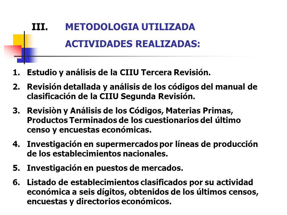 III. METODOLOGIA UTILIZADA ACTIVIDADES REALIZADAS: