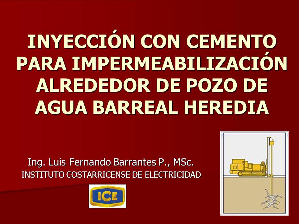INYECCIÓN CON CEMENTO PARA IMPERMEABILIZACIÓN ALREDEDOR DE POZO DE AGUA BARREAL HEREDIA