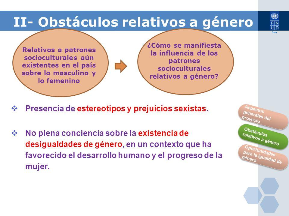 II- Obstáculos relativos a género