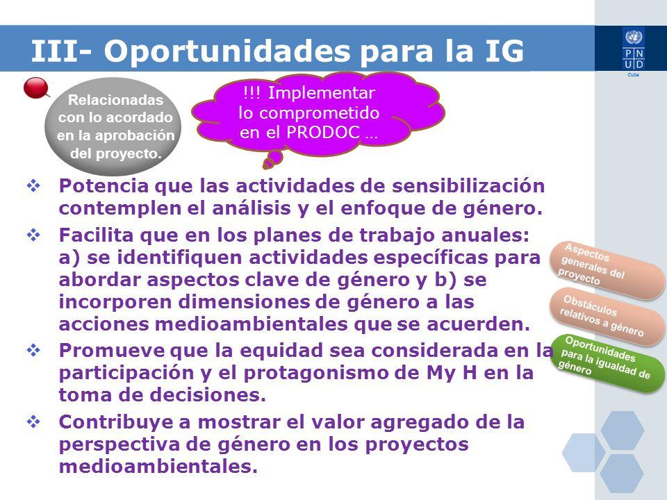 III- Oportunidades para la IG