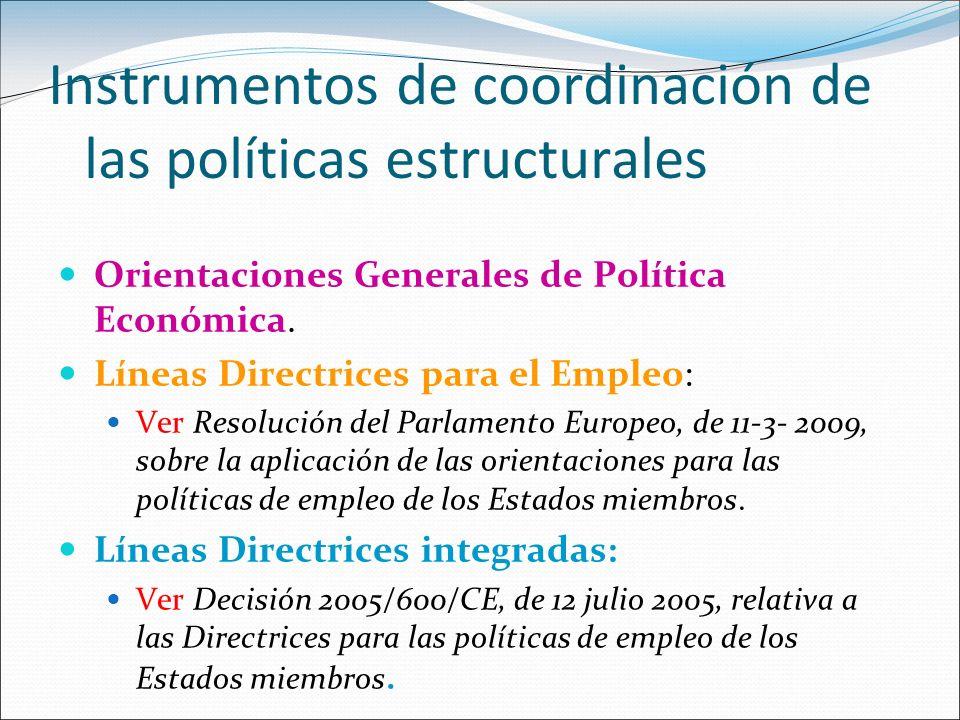 Instrumentos de coordinación de las políticas estructurales