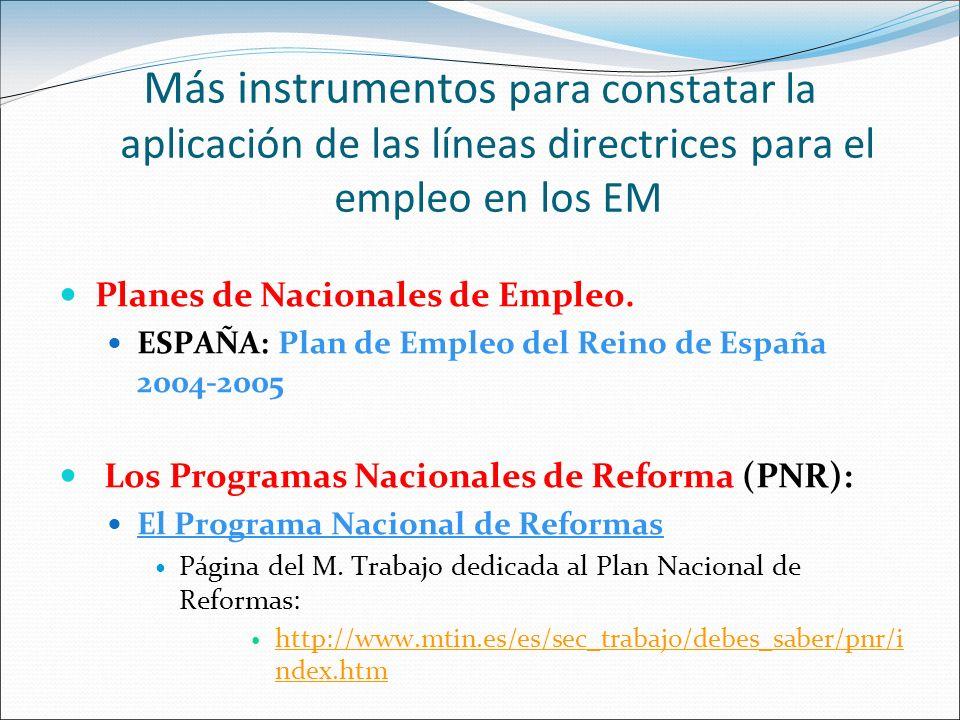 Más instrumentos para constatar la aplicación de las líneas directrices para el empleo en los EM
