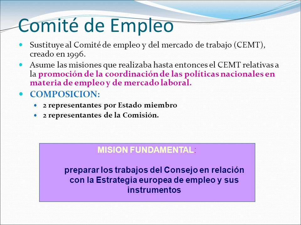 Comité de Empleo COMPOSICION: