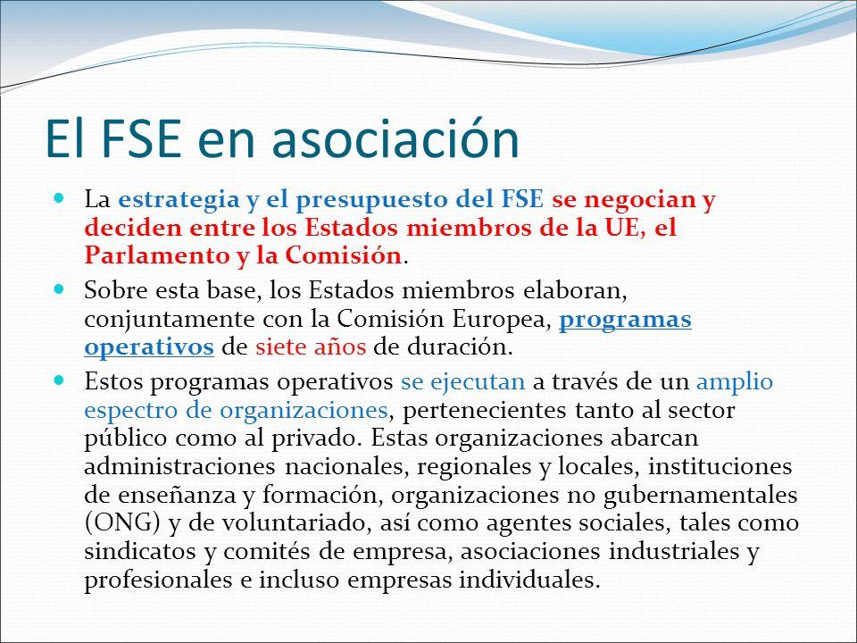 El FSE en asociación La estrategia y el presupuesto del FSE se negocian y deciden entre los Estados miembros de la UE, el Parlamento y la Comisión.
