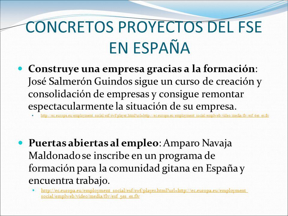 CONCRETOS PROYECTOS DEL FSE EN ESPAÑA