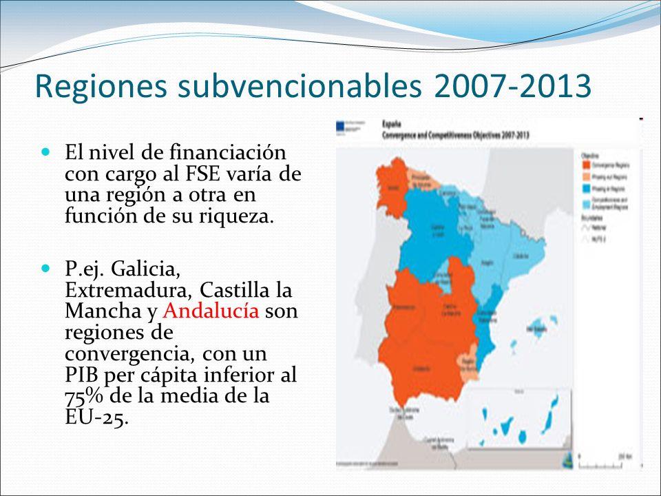 Regiones subvencionables 2007-2013