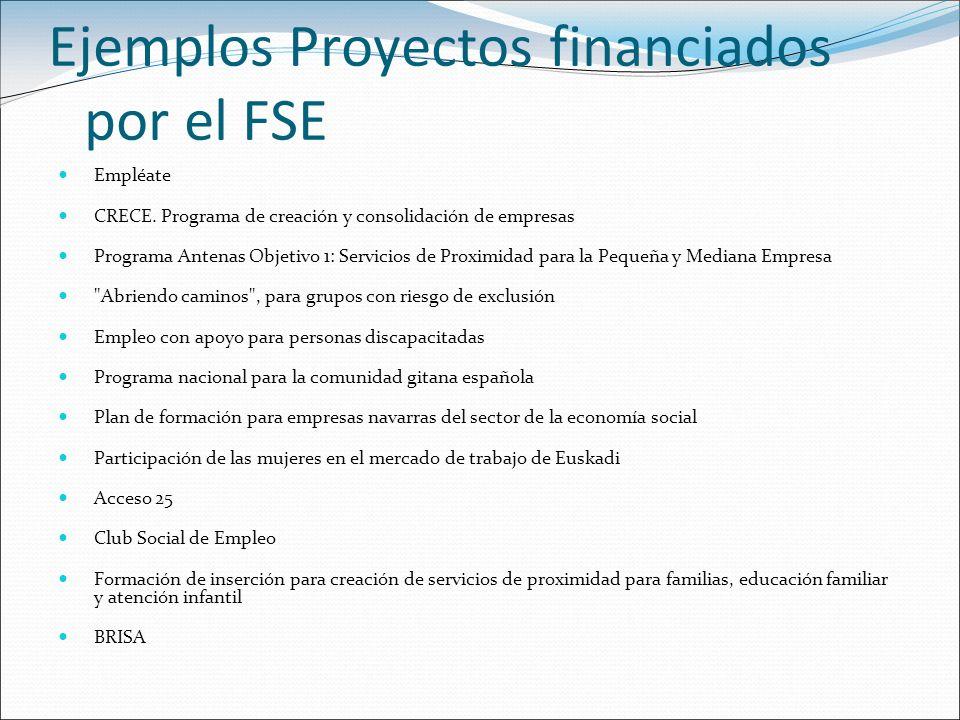 Ejemplos Proyectos financiados por el FSE