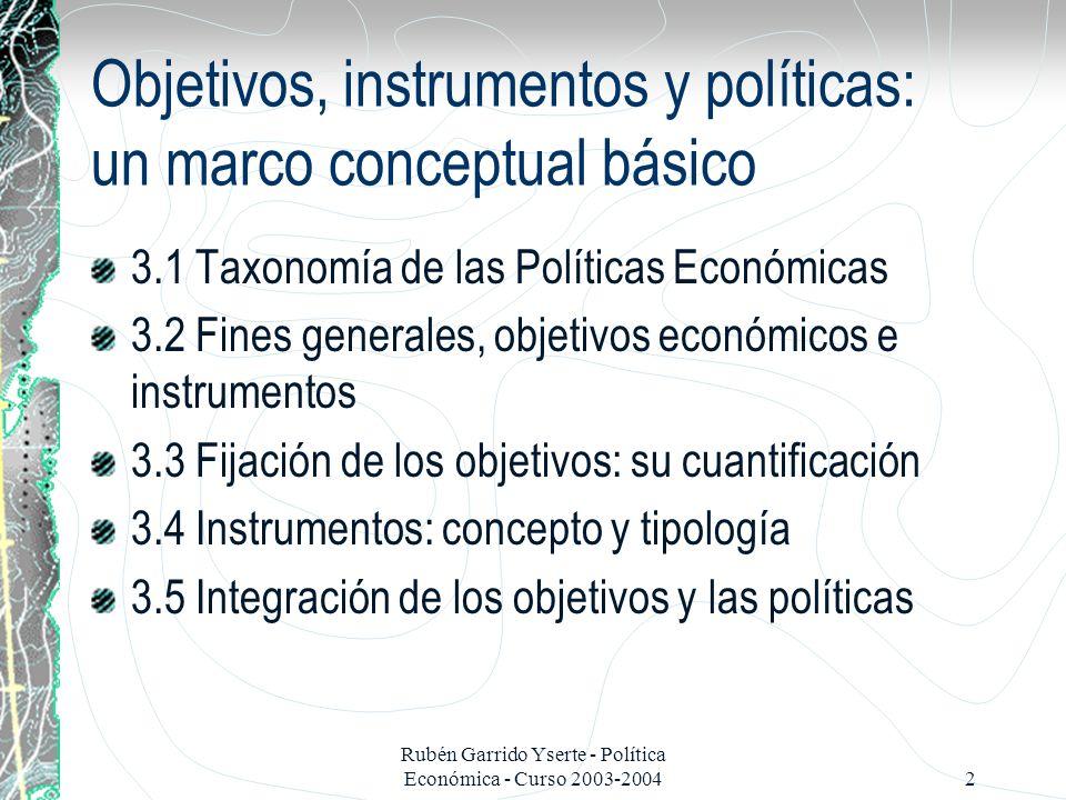 Objetivos, instrumentos y políticas: un marco conceptual básico