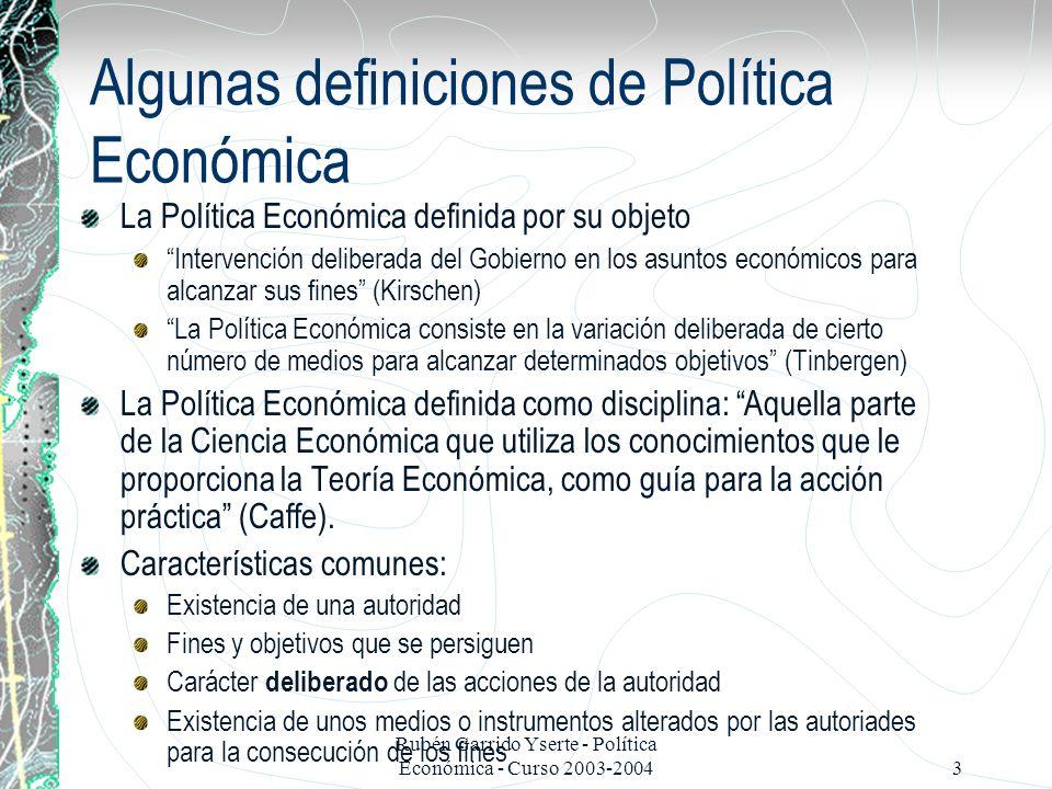Algunas definiciones de Política Económica