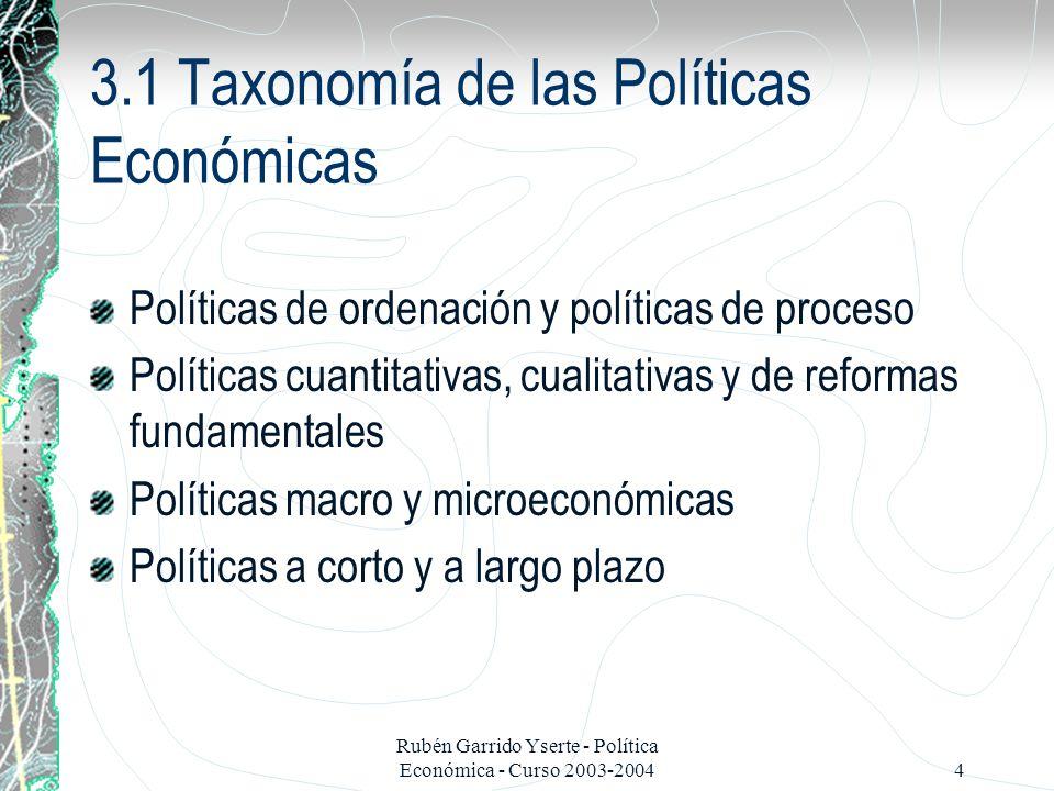 3.1 Taxonomía de las Políticas Económicas