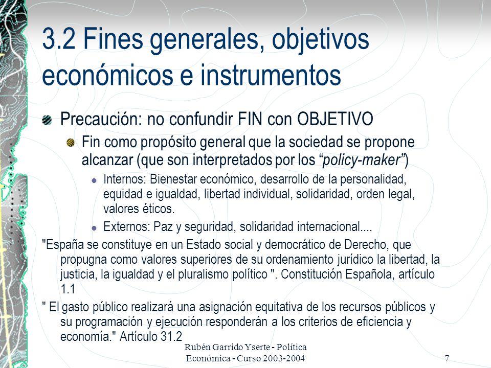 3.2 Fines generales, objetivos económicos e instrumentos