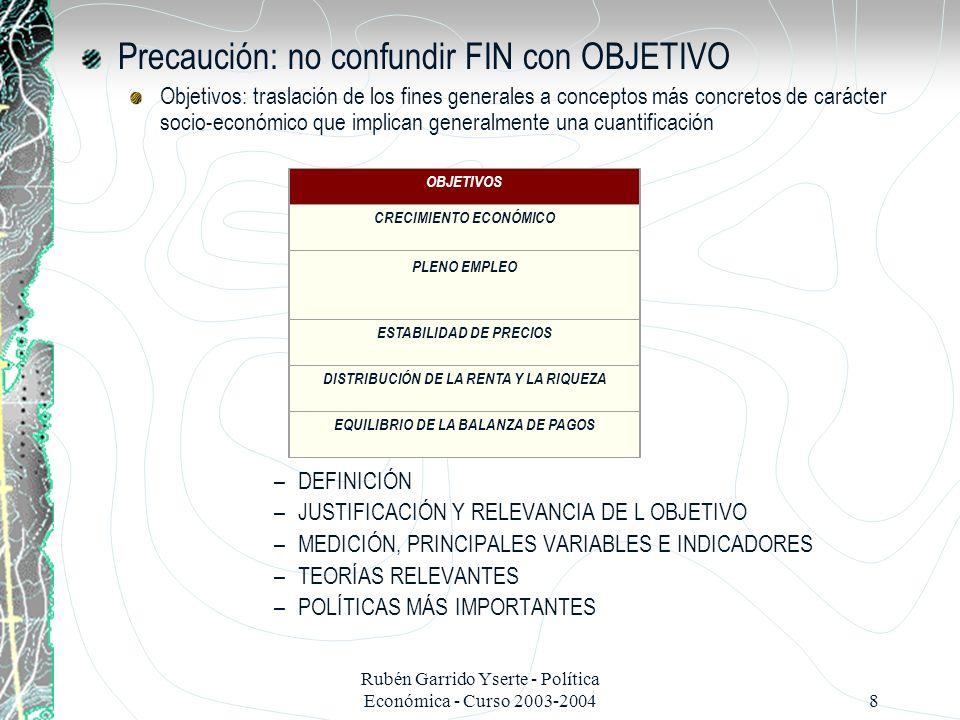 Precaución: no confundir FIN con OBJETIVO