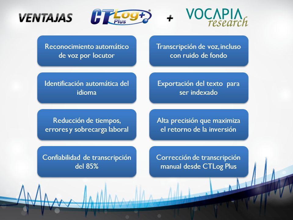 VENTAJAS + Reconocimiento automático de voz por locutor