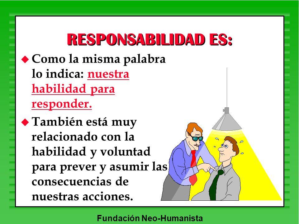 RESPONSABILIDAD ES: Como la misma palabra lo indica: nuestra habilidad para responder.
