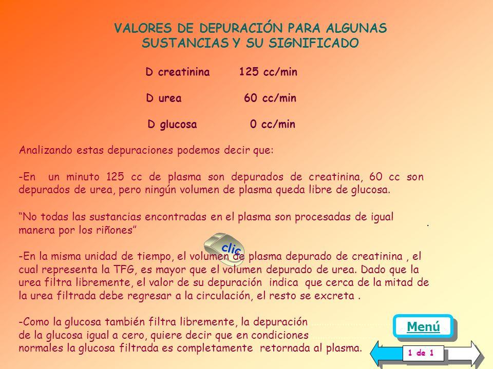 VALORES DE DEPURACIÓN PARA ALGUNAS SUSTANCIAS Y SU SIGNIFICADO