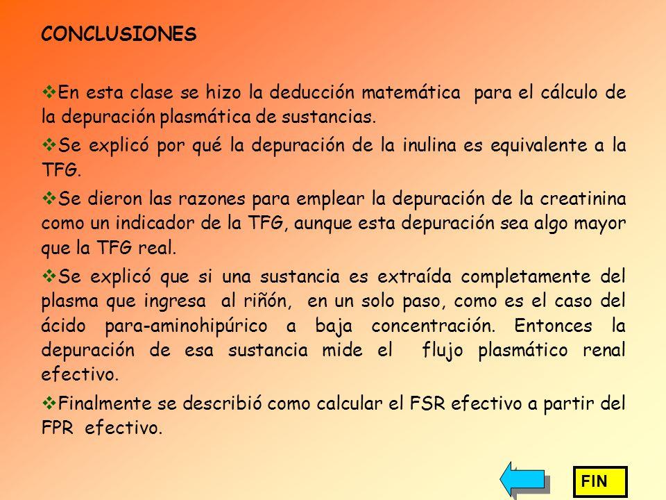 CONCLUSIONES En esta clase se hizo la deducción matemática para el cálculo de la depuración plasmática de sustancias.