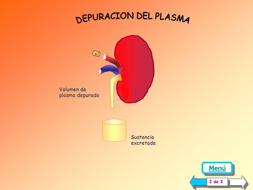 DEPURACION DEL PLASMA Menú Volumen de plasma depurado