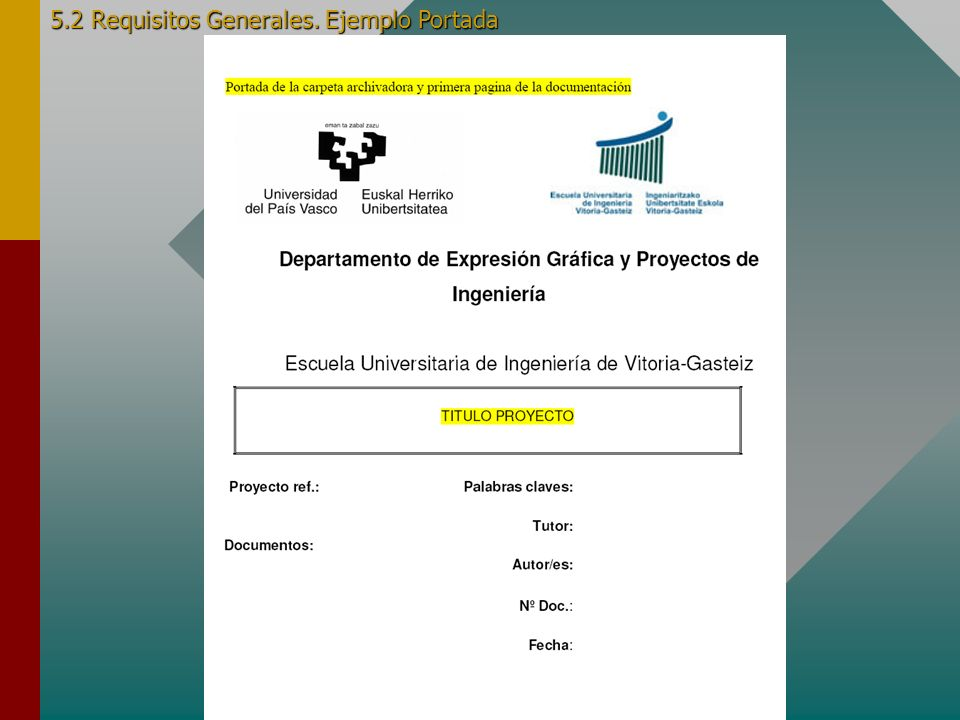 5.2 Requisitos Generales. Ejemplo Portada