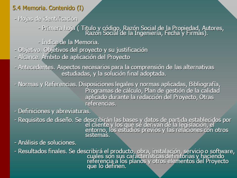 5.4 Memoria. Contenido (I) - Hojas de identificación.