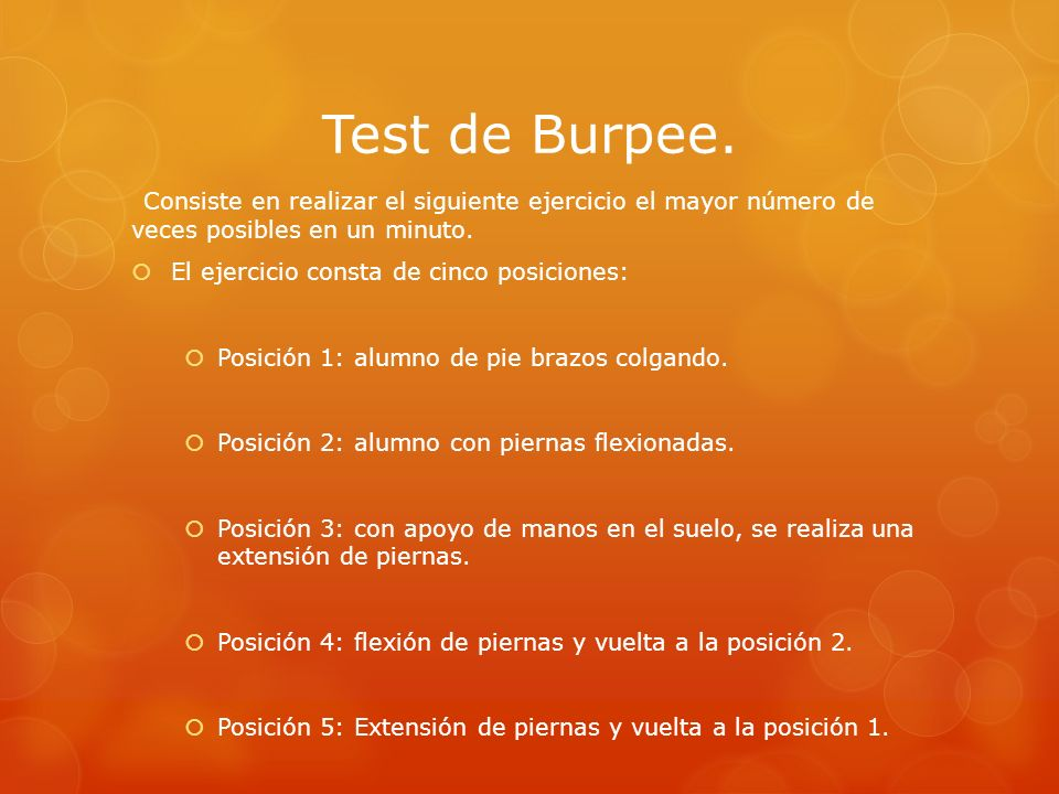 Test de Burpee. El ejercicio consta de cinco posiciones: