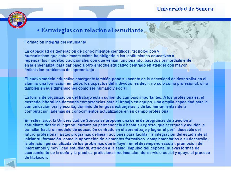 U Estrategias con relación al estudiante Universidad de Sonora