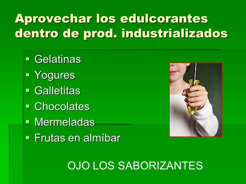 Aprovechar los edulcorantes dentro de prod. industrializados