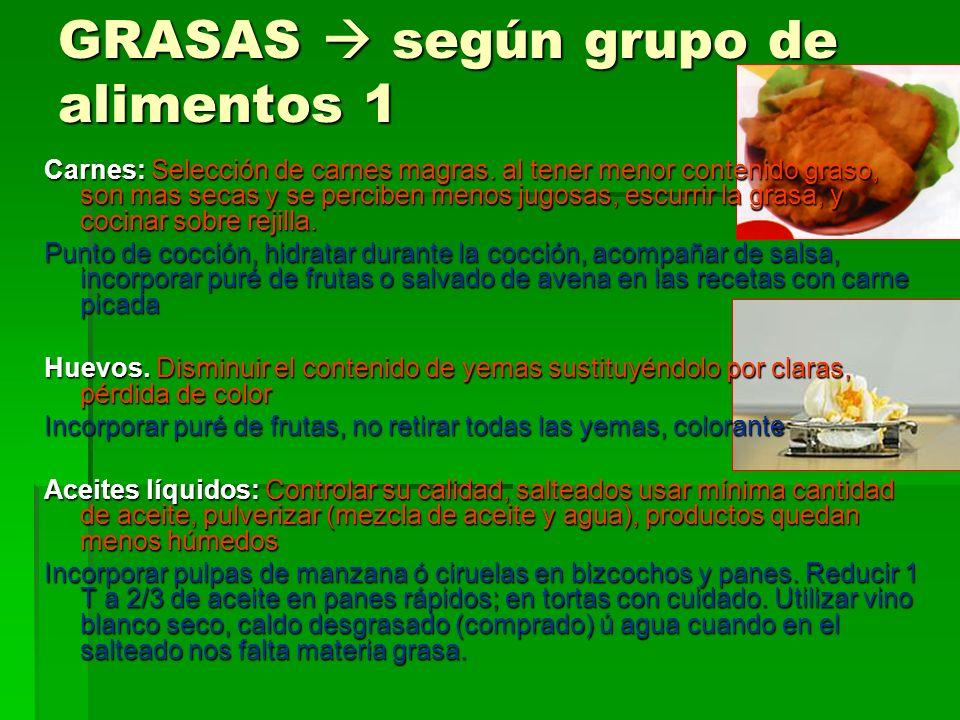 GRASAS  según grupo de alimentos 1