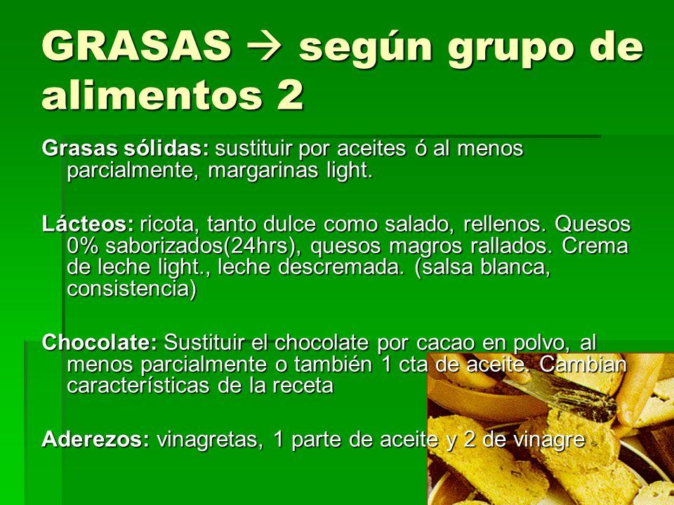 GRASAS  según grupo de alimentos 2