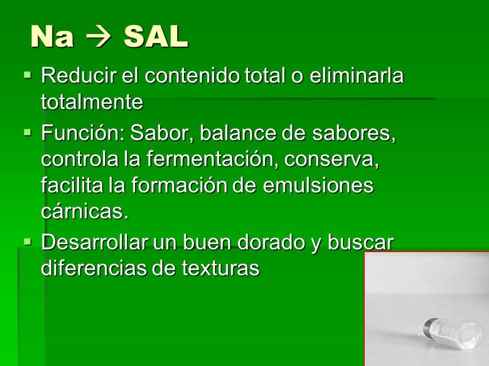 Na  SAL Reducir el contenido total o eliminarla totalmente