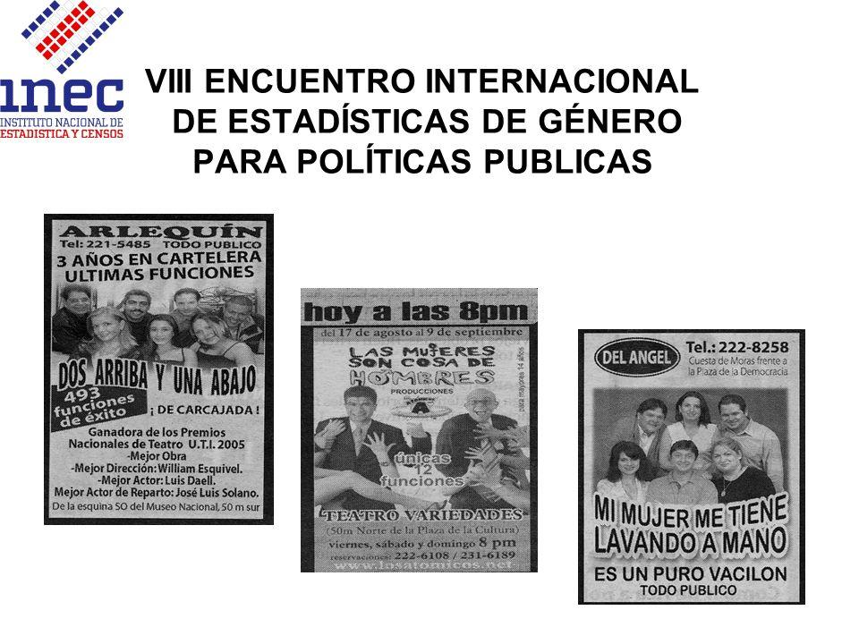 VIII ENCUENTRO INTERNACIONAL DE ESTADÍSTICAS DE GÉNERO PARA POLÍTICAS PUBLICAS