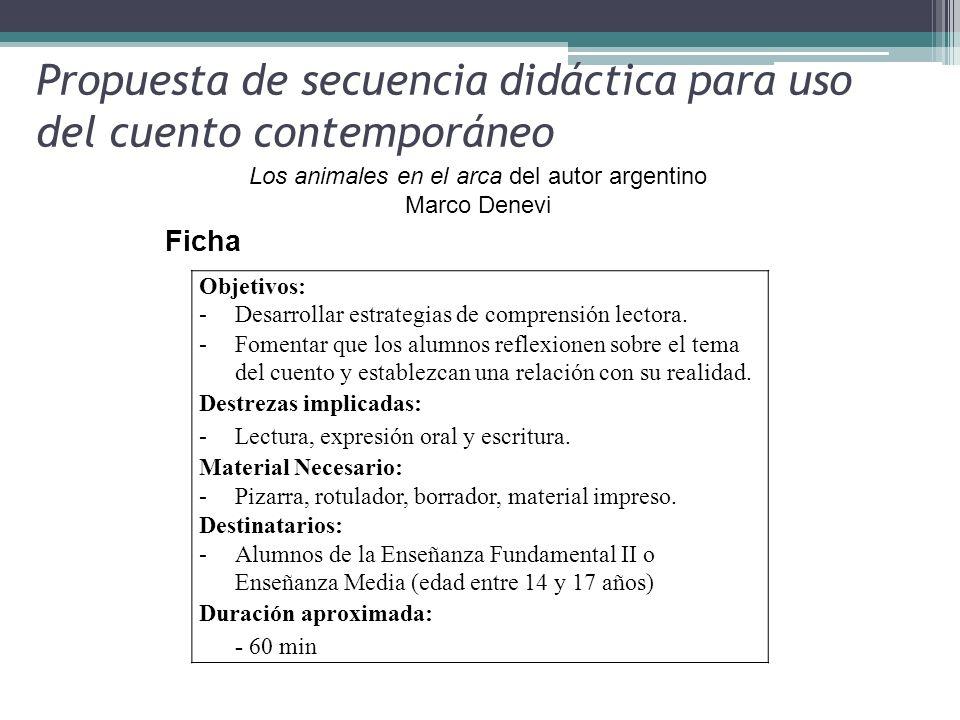 Propuesta de secuencia didáctica para uso del cuento contemporáneo