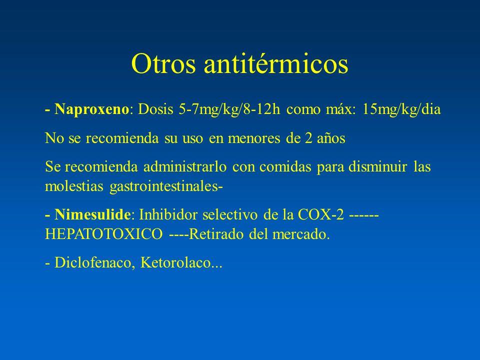 Otros antitérmicos - Naproxeno: Dosis 5-7mg/kg/8-12h como máx: 15mg/kg/dia. No se recomienda su uso en menores de 2 años.