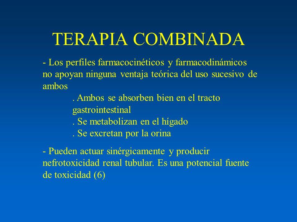 TERAPIA COMBINADA - Los perfiles farmacocinéticos y farmacodinámicos no apoyan ninguna ventaja teórica del uso sucesivo de ambos.