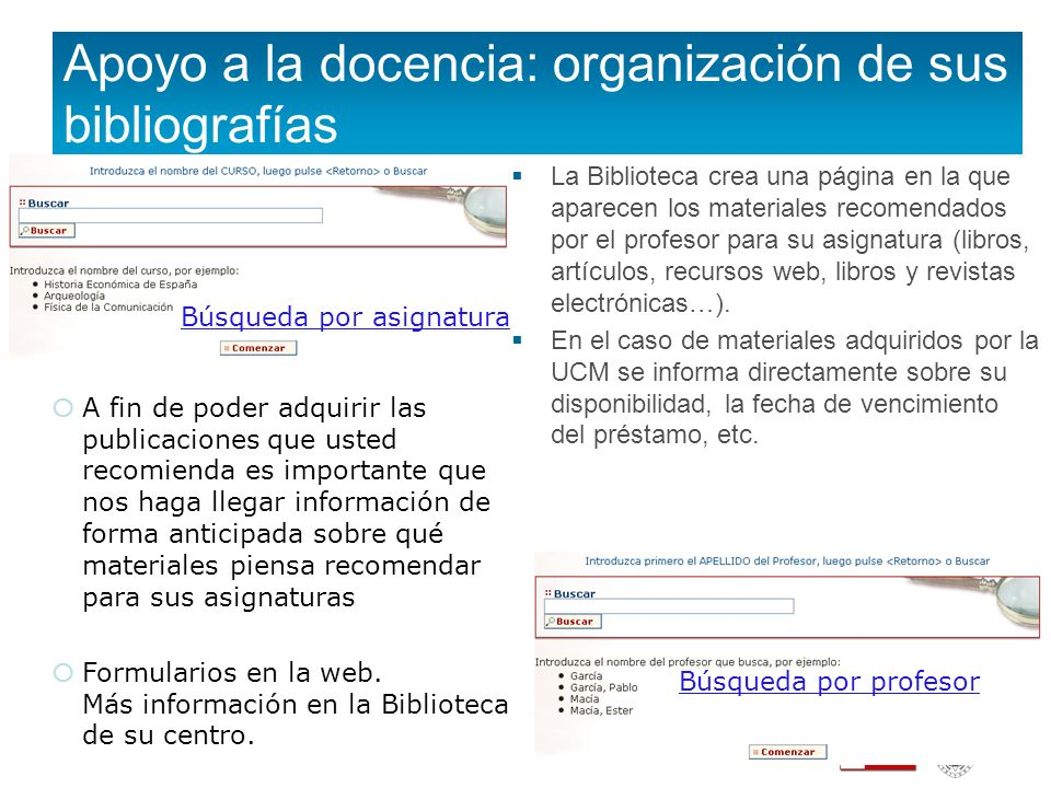 Apoyo a la docencia: organización de sus bibliografías