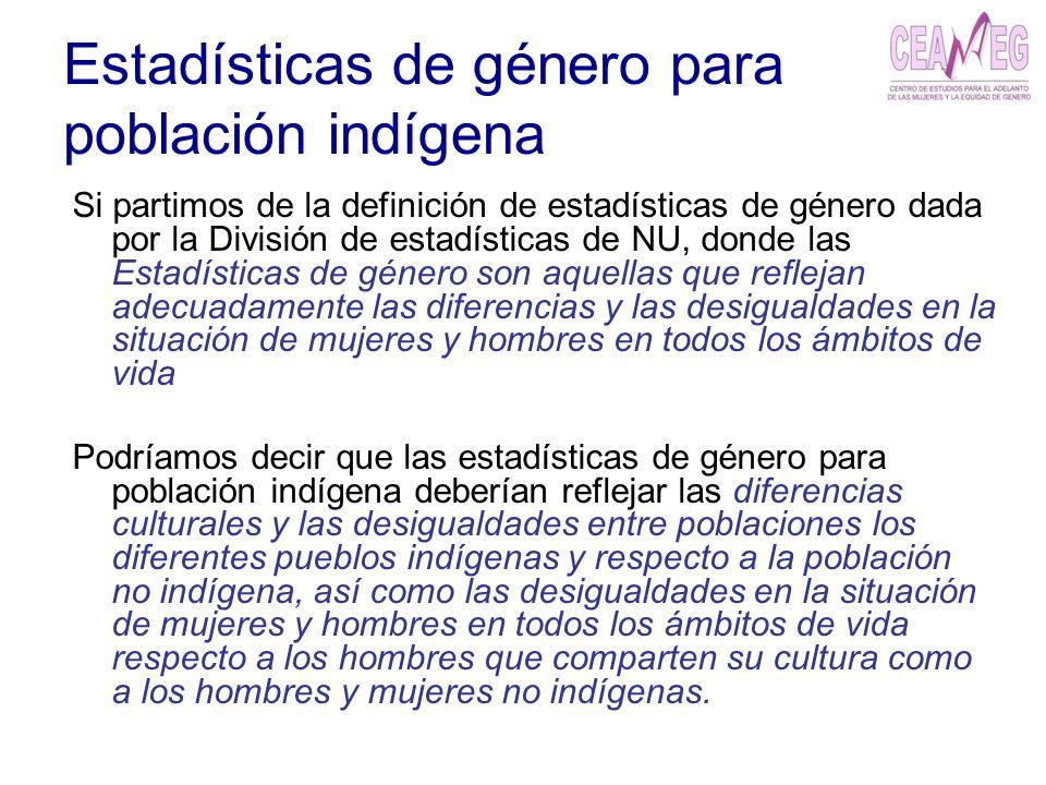 Estadísticas de género para población indígena