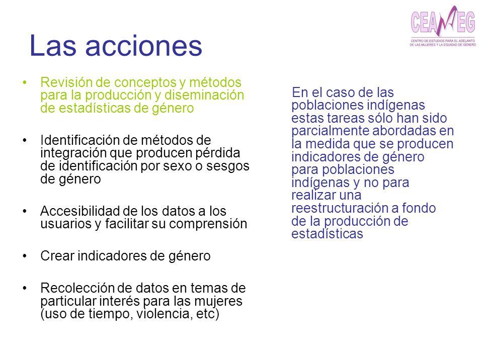 Las acciones Revisión de conceptos y métodos para la producción y diseminación de estadísticas de género.